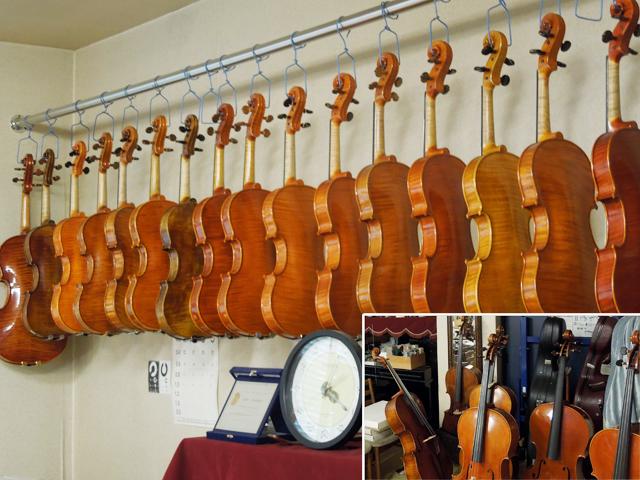 バイオリン、ビオラ、チェロの品揃え